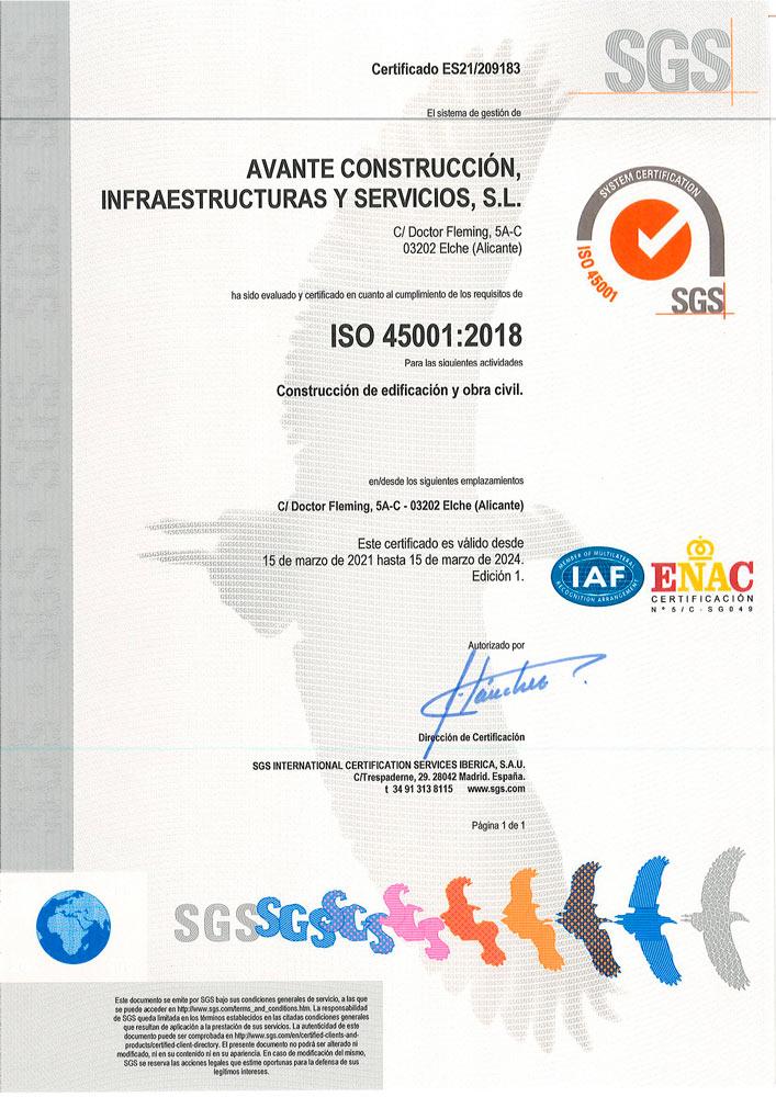 Certificación sellos ISO por el sistema el sistema de Gestión de la salud y seguridad en el trabajo